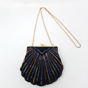🚫SOLD🚫 Black beaded shell purse evening bag